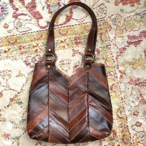 Lucky Brand Brown Leather Chevron Bag